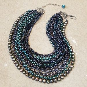 Genuine Blue and Green Pearl Waterfall Necklace
